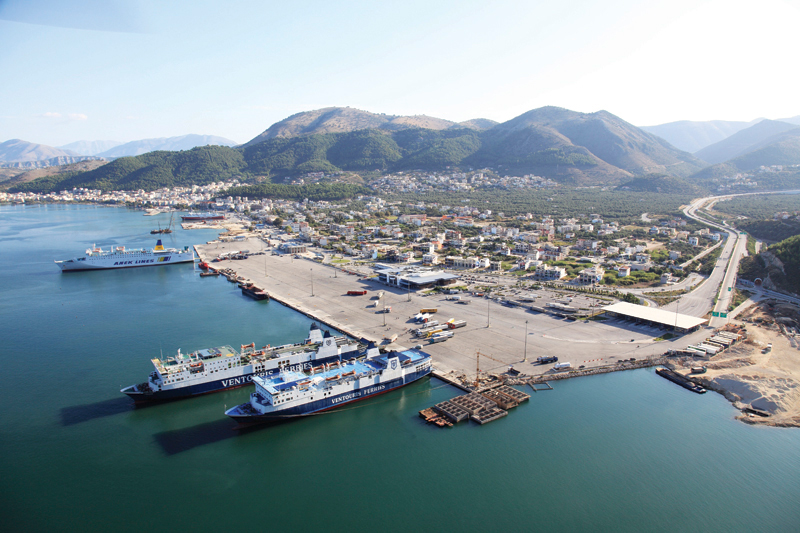The port viewed from the air